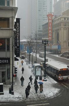 Chicago, IL. Winter, State & Randolph, looking North // Photo: Joon Han, via Flickr