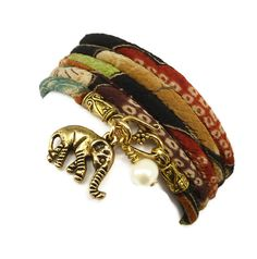 Gorgeous. And elephants are always a beautiful reminder to have around. :: Lucky Elephant Japanese Kimono Fabric Wrap Bracelet