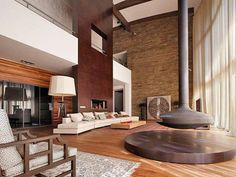 Great Mid Century Modern living room with an amazing fireplace.