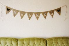 MR & MRS Burlap Bunting Banner Photo Prop by themcavoyroost, $22.00 Burlap Bunting, Bunting Banner, Wedding Silverware, Flag Colors, Woodland Wedding, Mr Mrs, Shabby Chic Decor, Lettering Design, Engagement Pictures