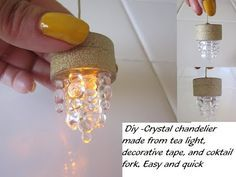 Dollhouse Ceiling Chandelier that really works - Light Pendant from tea lights - no wiring needed - YouTube