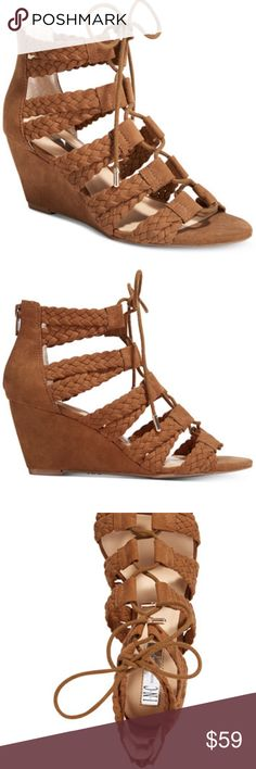 """INC WITLEY WALNUT WEDGE SANDAL NEW IN BOX! INC International Concepts combines lace-up detail with a back zipper for a fitted feel in the chic caged Witley sandals.  DETAILS: Almond-toe sandals with back zipper  Front lace-up closure  Braided strap detail at upper 2-1/2"""" covered wedge heel  Memory foam sock for added comfort Fabric upper; manmade sole Color: brown INC International Concepts Shoes Wedges"""