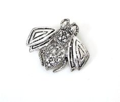 Vintage Silver Insect Bug Pin Brooch Marcasites Fun Figural Fly