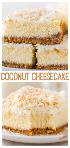 Easy Coconut Cheesecake Bars # coconut Desserts Easy Coconut Cheesecake Bars - Baker by Nature Coconut Cheesecake Bars Recipe, Coconut Desserts, Coconut Recipes, Cheesecake Recipes, Just Desserts, Dessert Recipes, Coconut Bars, Turtle Cheesecake, Homemade Cheesecake