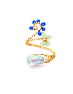 Wire-Wrap Tanzanite Crystal ring, adjustable wire wrapped ring, Gold plated or silver jewelry,- Sterling Silver RingAny size avalible