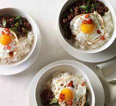 Australian Gourmet Traveller fast Thai recipe for pork pad kra pao with fried egg. Thai Recipes, Egg Recipes, Pork Recipes, Asian Recipes, Healthy Recipes, Fast Recipes, Dinner Recipes, Cooking Recipes, Gourmet