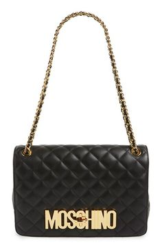 MOSCHINO 'Large Letters' Quilted Leather Shoulder Bag. #moschino #bags #shoulder…