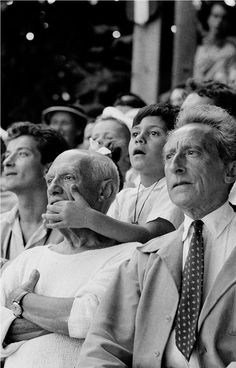 Pablo Picasso, son Claude and Jean Cocteau at a bullfight, Vallauris, France, 1955. Photo by Brian Brake