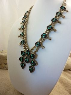 REDUCED....Vintage Navajo Sterling Silver and Turquoise Squash Blossom Necklace. Unique w Beautiful Natural Turquoise and Awesome Oxidation....