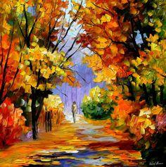 """Unidad con la naturaleza — Paisaje abstracto pared arte pintura al óleo sobre lienzo de Leonid Afremov. Tamaño: 30 """"X 30"""" pulgadas (75 cm x 75 cm)"""