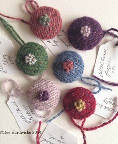 Knitted covered buttons using the beautiful palette of Rowan Felted Tweed - from my knitting design workshops.