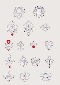 Tatting with beads - patterns for earrings or pendants. Larger image at the link.