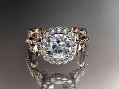 14k rose gold diamond leaf and vine wedding ring,engagement ring,wedding band ADLR118. $1,395.00, via Etsy.