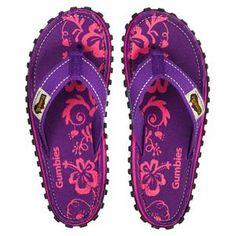 bdc26bd28257 Gumbies - Islander Canvas Flip-Flops - Women s - Purple Hibiscus Hibiscus  Image