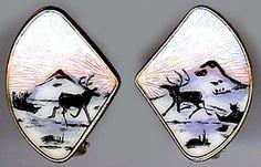 IVAR HOLT NORWAY VINTAGE STERLING SILVER ENAMEL ELK & SLEIGH EARRINGS | eBay