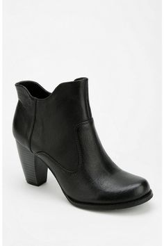 Leather stacked heel booties in black -- so chic!