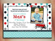 Little Red Wagon Birthday Invitation Red Wagon by MVDesignInk, $10.00