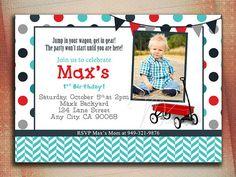 Little Red Wagon Birthday Invitation Red Wagon by MVDesignInk, $10.00