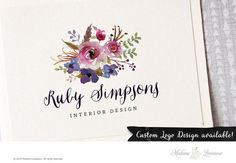 premade logo design watercolor flower logo bouquet by TheParisWife