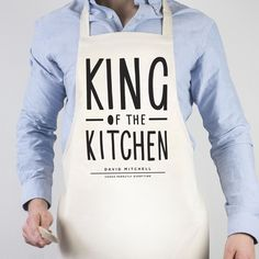 King of the kitchen personalised apron, talk about the perfect christmas gift for Dad!