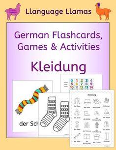 Kleidung. This pack contains resources to teach 16 German words for clothes, great for teaching elementary students. The vocabulary set includes: die Mtze, der Schal, die Schuhe, die Socken, die Handschuhe, das Hemd, die Blusa, das T-shirt, die Jacke, die Hose, der Pullover, die kurze Hose, der Rock, das Kleid, die Stiefel, der Schlafanzug.The pack comprises:1.