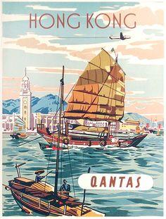 Hong Kong. Qantas, c1950s by Anon Vintage Travel Poster