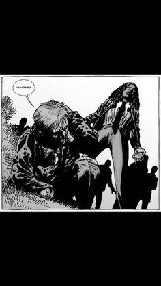 Michonne and Rick Walking Dead issue 75 Walking Dead Comics, Walking Dead Memes, The Walking Dead 3, Twd Comics, Sonequa Martin Green, Sarada Uchiha, Dead Inside, Stuff And Thangs, Andrew Lincoln