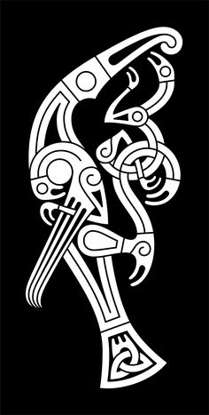 Full figure animals like in this illustration either of birds or mammals became more common in Style II D. A few examples similar to this composition of a large bird composed by lesser anima… Celtic Raven, Viking Raven, Viking Art, Celtic Art, Viking Woman, Celtic Tattoos, Viking Tattoos, Fenrir Tattoo, Gripping Beast