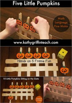 Five Little Pumpkins Fall Activities Math, Language, and Fine Motor halloween fingerplays Fall Preschool Activities, Halloween Activities, Classroom Activities, Preschool Math, Halloween Crafts Kindergarten, Preschool Learning Centers, September Preschool Themes, Thanksgiving Activities, Music Classroom