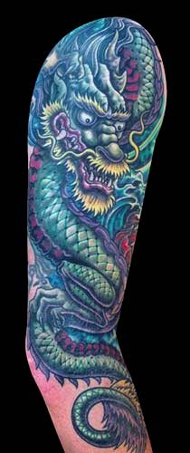 Japanese Dragon tattoo by Mike Cole of CA