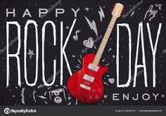 Electric guitar over blackboard and doodles over it representing the rock 'n' roll culture: loudspeaker, sign of horns, heart, stars, lightnings, music note inviting you to enjoy Rock Day. Vector Stock Illustration Blackboards, Loudspeaker, Vector Stock, Music Notes, The Rock, Rock N Roll, Horns, Lightning, Electric