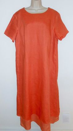 Tribeca 1X Linen Maxi Dress Coral Orange Career Plus #Tribeca #Maxi