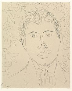 """Henri Matisse """"Head of a Man; Floral Background"""" 1914 Etching on chine colle"""