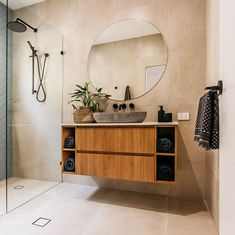 Like tiles and feature tile in shower area coupled with timber vanity and black tapwear House Design, House Bathroom, Bathroom Renos, Interior, Timber Vanity, House Interior, Bathroom Interior, Concrete Basin, Bathroom Decor