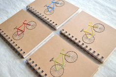 Bike Mini Notebook  Spiral Notepad  Embroidered by KotoDesigns, $7.75