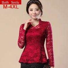 HOT 2017 Woman lace shirt Fashion Casual Long-sleeved chiffon blouses Shirt Plus size women clothing lace shirt blusas