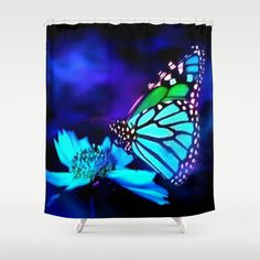 #Society6 - Butterfly in blue light Shower Curtain by Elena Indolfi - $68.00