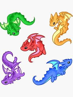 'Gem Dragon Pattern' Sticker by Rebecca Golins - Anime Easy Dragon Drawings, Cute Dragon Drawing, Dragon Sketch, Cute Animal Drawings, Kawaii Drawings, Cute Animal Tattoos, Kawaii Dragon, Baby Dragon Tattoos, Cute Dragon Tattoo