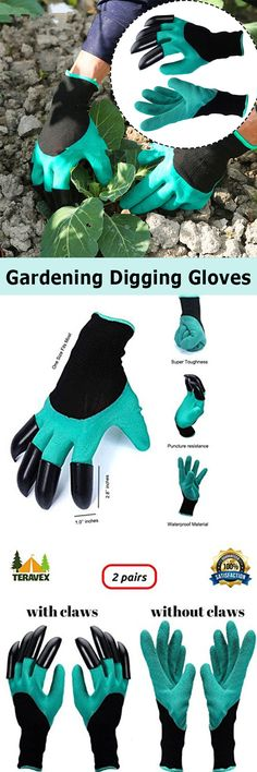 US$7.22 -- 2Pcs Gardening Digging Gloves Planting Rubber Left Hand Claws and Right Hand Claws Grip Gloves#newchic#home#garden#plant#green
