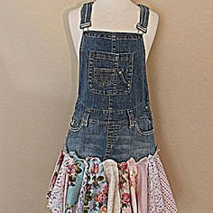 Eco Overall Dress   Women's Clothing   Upcycled Denim   Mori Girl   Tattered Woodland Fairy Clothes