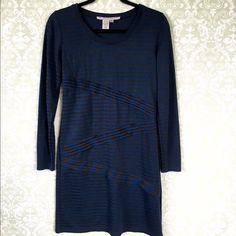 Max Studio blue and black striped dress. Max Studio blue and black striped dress. Long sleeves. Comes to my knees ( I'm 5,4). With diagonal Ruffles. Very flattering. Polyester, cotton, spandex blend. Size small. Max Studio Dresses Midi