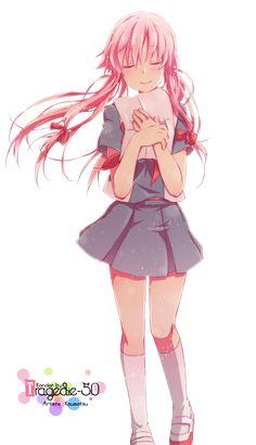 Render Animes et Manga - Renders yuno gasai mirai nikki cheveux rose uniforme fille noeud artiste kousetsu