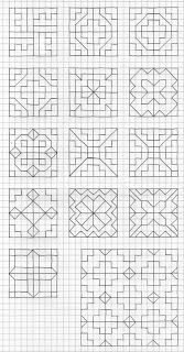Blackwork Patterns, Blackwork Embroidery, Doodle Patterns, Cross Patterns, Zentangle Patterns, Graph Paper Drawings, Graph Paper Art, Easy Drawings, Barn Quilt Designs