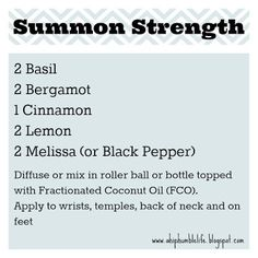 """Summon Strength"" diffuser blend using Basil, Bergamot, Black Pepper, Lemon, and Cinnamon. Please ""LIKE"" me on Facebook: https://www.facebook.com/EOAdventureswithBecky ~~ Need to purchase oils? You can find out more information at https://www.youngliving.com/signup/?sponsorid=2385830&enrollerid=2385830 ~~"