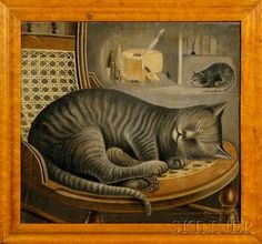 Folk Painting Of A Sleeping Cat | Content in a Cottage
