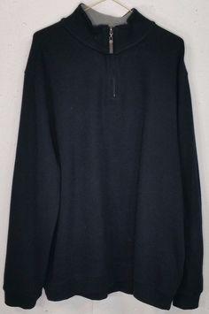 Tasso Elba Mens Black 100% Cotton Long Sleeve 1/4 Zip Pullover Sweatshirt XXL #TassoElba #14ZipPullover