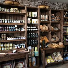 Local bread in village store. Display from the Artisan crate range from Linkshelving.