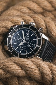 The Breitling Superocean Heritage Chronograph 46 (Ref. A1332024.B908.256S.A20D.2) brings everything together what you would expect from a modern diving watch: automatic calibre, rubber strap, diving bezel, 46 mm stainless steel case, 200 metre water resistance and a date and chronograph complication. If there has ever been a diving watch from Breitling that combines everything you actually need or could need, then it's this one! Diving Watch, Breitling Superocean Heritage, Breitling Watches, Stainless Steel Case, Chronograph, Luxury, Water, Modern, Gripe Water