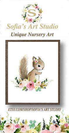 Baby squirrel paintingvwoodland nursery flower nursery