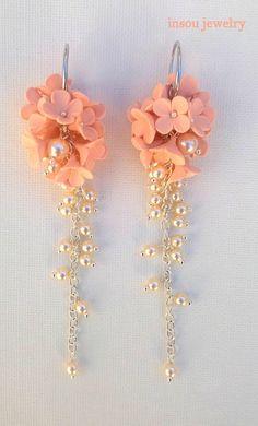 Flower EarringsWedding EarringsLight Peach Earrings Pearl